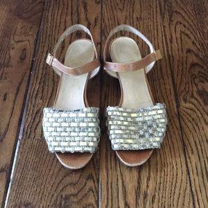 Ferragamo Metallic Woven Leather Sandals